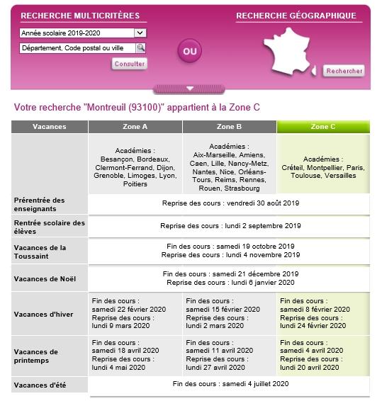 Calendrier Sans Annee.Circonscription De Montreuil 2 Calendrier Scolaire 2019 2020